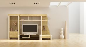 Lounge room interior with bookshelf and TV. 3d interior with modern bookshelf with TV Royalty Free Stock Photography