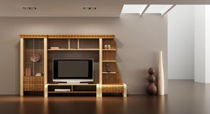 Lounge room interior with bookshelf and TV. 3d interior with modern bookshelf with TV Stock Image