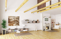 Lounge room interior 3d rendering. Interior of lounge room with fireplace 3d rendering Royalty Free Stock Photography