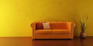 Lounge room with leather couch Royalty Free Stock Photo