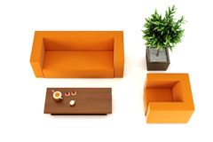 Lounge room with leather couch Royalty Free Stock Images
