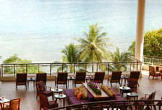 Lounge sea view area at luxury hotel Royalty Free Stock Image