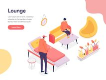 Lounge Space Illustration Concept. Isometric design concept of web page design for website and mobile website.Vector illustration royalty free stock image