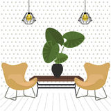 Lounge with two relaxing comfortable chair seat modern. With table and plant minimalism design hanging lamp retro modern vector Royalty Free Stock Images