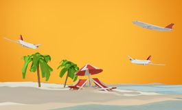 Lounge and umbrella on sand beach island and airplanes 3d-illust. Ration design Royalty Free Stock Photo