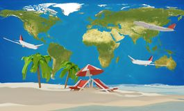 Lounge and umbrella on sand beach island with airplanes and worl. D map 3d-illustration. elements of this image furnished by NASA design Stock Images