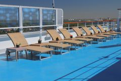 Lounge zone on deck of cruise liner. 2018-07-06 stock photo