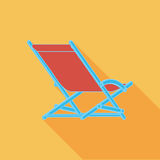 Lounger Beach Sunbed Chair flat icon Royalty Free Stock Images