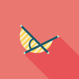 Lounger Beach Sunbed Chair flat icon with long shadow Royalty Free Stock Photos
