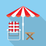 Lounger Beach Sunbed. Beach Umbrella and Lounger Beach - Vector icon Royalty Free Stock Images