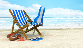 Lounger on the beach Stock Image