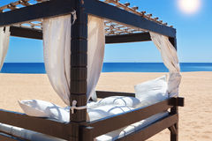 Lounger bed, on the beach for a relaxing. Stock Photo