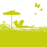 Lounger in the garden and break Royalty Free Stock Photos