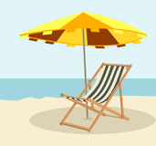 Lounger. Hidden in the shade from the sun lounger on the beach vector illustration