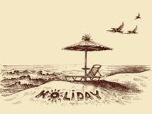 Lounger i parasol na plaży royalty ilustracja