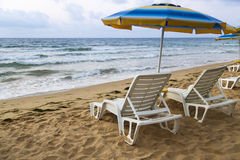 Lounger parasol Royalty Free Stock Photography