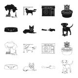 Lounger for a pet, clipping of claws in a vet clinic, lying dog, puppy with a ball. Vet clinic and pet,dog care set. Collection icons in black,outline style Royalty Free Stock Images