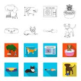 Lounger for a pet, clipping of claws in a vet clinic, lying dog, puppy with a ball. Vet clinic and pet,dog care set. Collection icons in outline,flet style Stock Images