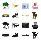 Lounger for a pet, clipping of claws in a vet clinic, lying dog, puppy with a ball. Vet clinic and pet,dog care set. Collection icons in black,cartoon style Royalty Free Stock Photo