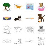 Lounger for a pet, clipping of claws in a vet clinic, lying dog, puppy with a ball. Vet clinic and pet,dog care set. Collection icons in cartoon,outline style Stock Image