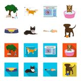 Lounger for a pet, clipping of claws in a vet clinic, lying dog, puppy with a ball. Vet clinic and pet,dog care set. Collection icons in cartoon,flat style Royalty Free Stock Photo