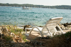 Lounger by the sea Royalty Free Stock Images