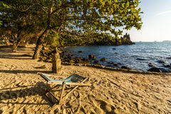 Lounger on the shore of a tropical island. Koh Chang. Stock Images