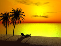 A lounger in sunrise. Silhoutte of two palms and a lounger at sunrise Royalty Free Stock Images