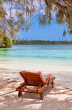 Lounger on a tropical beach, Isle of Pines Stock Photography
