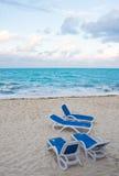 Loungers на пляже Стоковое фото RF