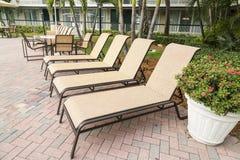 4 loungers солнца ладонями poolwith Флорида Стоковые Фото