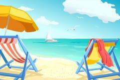 Воссоздание, ослабляя на пляже, loungers для пар Стоковые Изображения