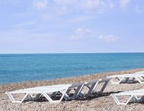 Loungers. A loungers on the beach stock photography