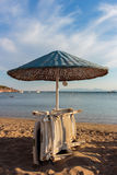 Loungers and beach umbrellas. Royalty Free Stock Image