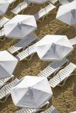 Loungers da praia com guarda-chuvas Foto de Stock