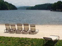 Loungers on the lake Royalty Free Stock Photo