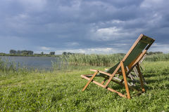 Loungers on a lake, Brandenburg Stock Photo