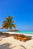 Loungers on Maldives beach Royalty Free Stock Photography