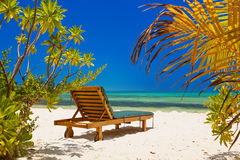Loungers on Maldives beach Stock Image