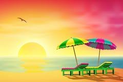 Loungers Sun на пляже Стоковые Изображения