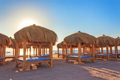 Loungers to relax on the beach. Loungers to relax on the shores of the Red Sea royalty free stock photo