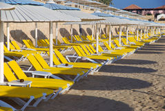 Loungers and umbrellas. Waiting for the tourists in an elegant resort in southern Egypt Stock Photography