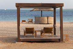 Lounges, beach, sea Stock Photo