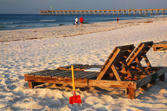 Lounges by the Sea. A seat awaits relaxation seekers in Pensacola Florida on the shores of the Gulf of Mexico Stock Photos