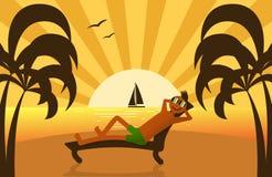 Lounging mężczyzna na plaży royalty ilustracja