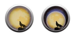 Loup d'hurlement à la scène de pleine lune Photographie stock