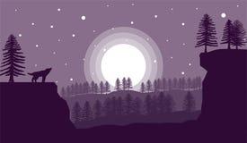 Loup d'hurlement avec le clair de lune Forest Landscape Flat Art illustration de vecteur