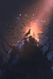 Loup d'hurlement sur la roche avec le vol d'oiseau autour Photo stock