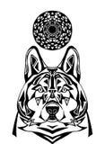 Loup d'ornement sur le fond blanc Art modelé de loup grave illustration libre de droits