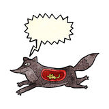 loup de bande dessinée avec la souris dans le ventre avec la bulle de la parole Photographie stock libre de droits